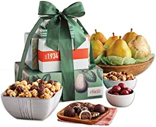 Harry & David Tower of Treats Pear, Nut, Popcorn and Sweets Gift Tower
