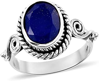 925 Sterling Silver Oval Lapis Lazuli Oxidized Statement Ring for Women Handmade Jewelry Gift Cttw 2