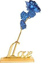 MSA JEWELS 24K Gold Rose with Love Stand & Blue Velvet Gift Box for Mother's Day, Valentine's Day, Day, Birthday, Christmas, Thanksgiving & Home Decor (Blue)