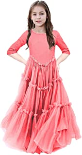 KIMIDY Maxi Dress for Girls Kids 3/4 Sleeve Tiered Tulle Twirling Princess Gown(6-12yrs)
