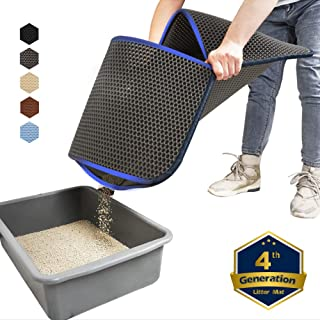 WePet Cat Litter Mat, Kitty Litter Trapping Mat, Large Size, Honeycomb Double Layer, No Phthalate, Urine Waterproof, Easy Clean, Scratch Scatter Control, Catcher Box Pads Rug Carpet 30x25 Inch L