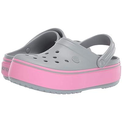 Crocs Kids Crocband Platform Clog GS (Little Kid/Big Kid) (Light Grey/Pink Lemonade) Girls Shoes