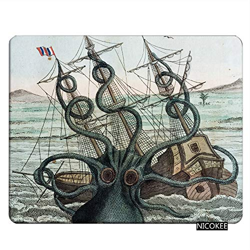 Nicokee Octopus Gaming Mousepad Sea Monster Kraken Octopus Mouse Pad Mouse Mat for Computer Desk Laptop Office 9.5 X 7.9 Inch Non-Slip Rubber