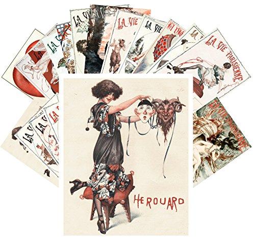 Postcard Set 24 cards La Vie Parisien Vintage European Pinup Cheri Herouard