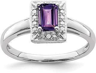 925 Sterling Silver Purple Amethyst Diamond Band Ring Gemstone Fine Jewelry For Women Gift Set