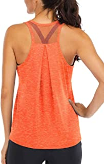 Fihapyli Workout Tops for Women Loose fit Racerback Tank Tops for Women Mesh Backless Muscle Tank Running Tank Tops Workou...