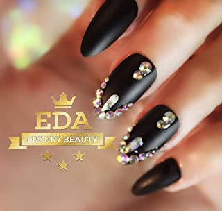EDA Luxury Beauty Matte Black 3D Ultimate Glamorous Jewel Design Gel Glitter Full Cover Press On Artificial Tips Perfect False Nails Extra Long Oval Round Almond Stiletto Super Halloween Fake Nails