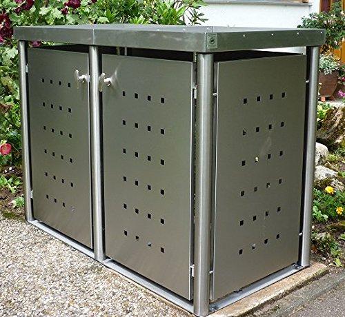 Mülltonnenbox 2x 240 Liter Edelstahl mit Rundpfosten