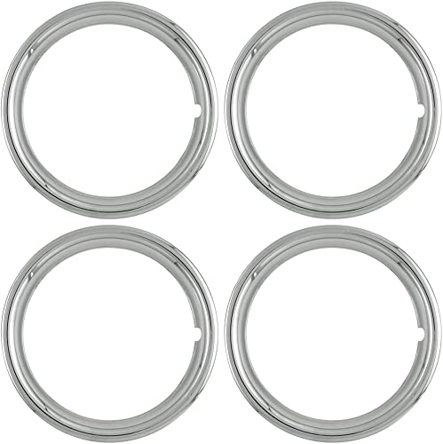 popular OxGord high quality Trim Rings 13 inch sale Diameter (Pack of 4) Chrome ABS Plastic Beauty Rims online