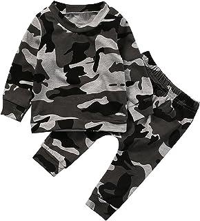 ggudd Bebé Niño Camuflaje Pijama Mangas Largas Camisa de Entrenamiento Pantalones Niñeras Trajes Conjuntos 0-24 Meses