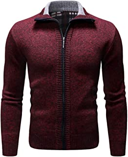 Sunhusing Men's Zipper Stitching Stylish Lapel Solid Color Knit Cardigan Coat Slim Long Sleeve Sweater Jacket