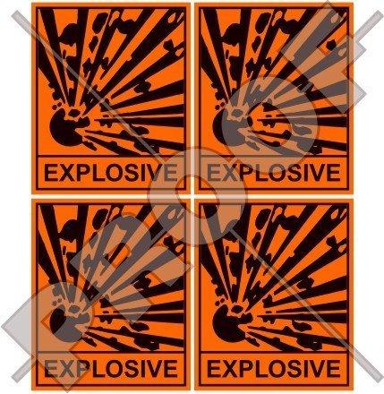 EXPLOSIV Sicherheitswarnschild Explosionsgefahr 50mm Auto & Motorrad Aufkleber, x4 Vinyl Sticker