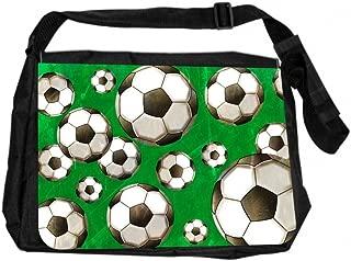 Jacks Outlet JOI-MB-127 TM Messenger Bag, Soccer Balls on Green