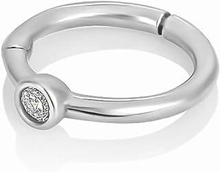 Diversa Piercing - Orecchino Donna Cartilagine ⌀ 7 mm, Anello Helix in Oro Bianco 18 Carati con Zircone