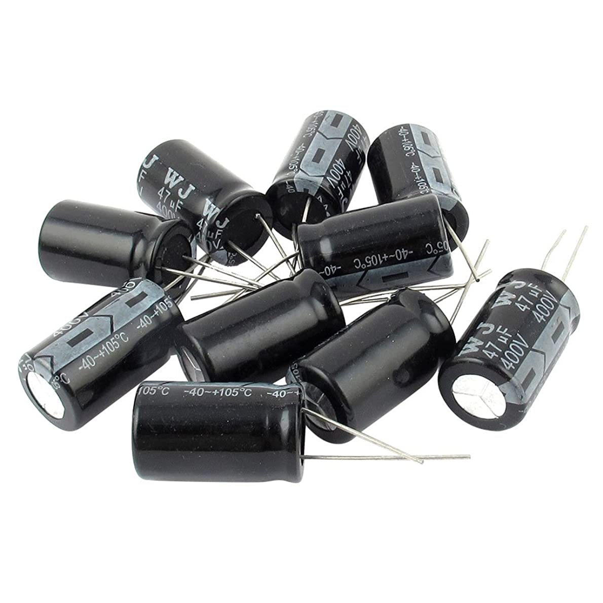 状況百断言する電解コンデンサ,SODIAL(R) 10件の400V 47uF 105 摂氏 ラジアルリード電解コンデンサ 16mm x 25mm