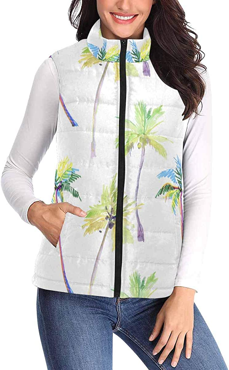 InterestPrint Women's zipper Sleeveless Padded Vest with Pocket for Travel Tropical,Palm Trees