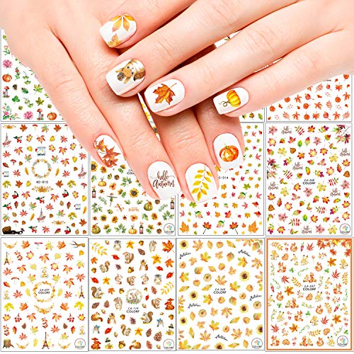Adoreu 1000+ Patterns Autumn Nail Art Decals Fall 3D Nail Self-Adhesive Stickers Harvest Pumpkin Maple Leaves Sunflower Squirrel for Women Girls Kids DIY Nail Design Manicure Thanksgiving Day