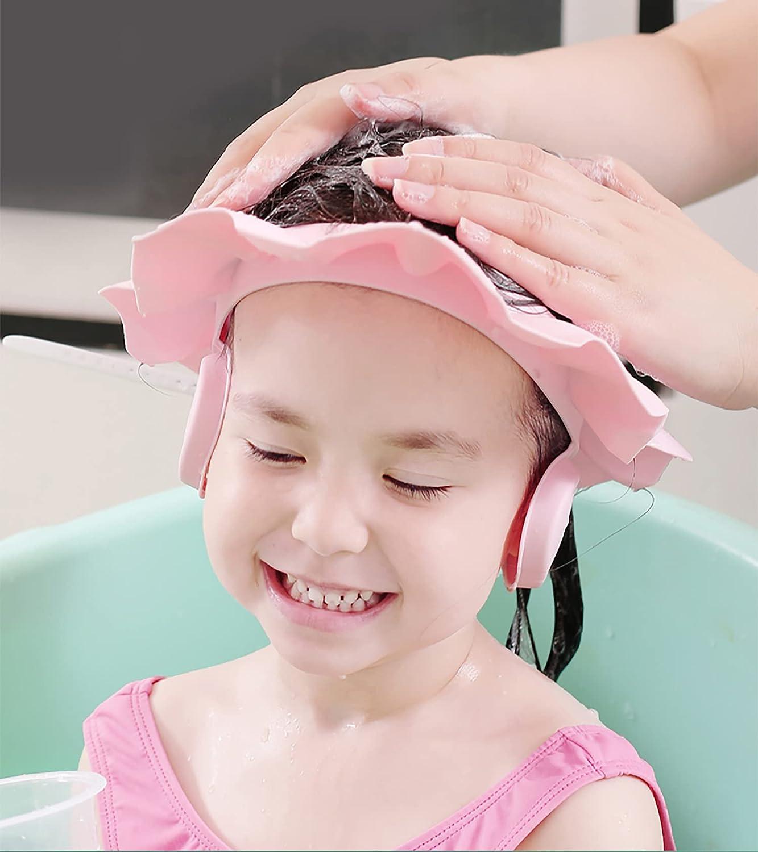 Children Bath Shower Cap Baby Shampoo Shower Cap Bath Visor Shampoo Bathing Hat Prevent Shampoo into The Eyes and Ears for Toddlers Kids Infants (Pink)