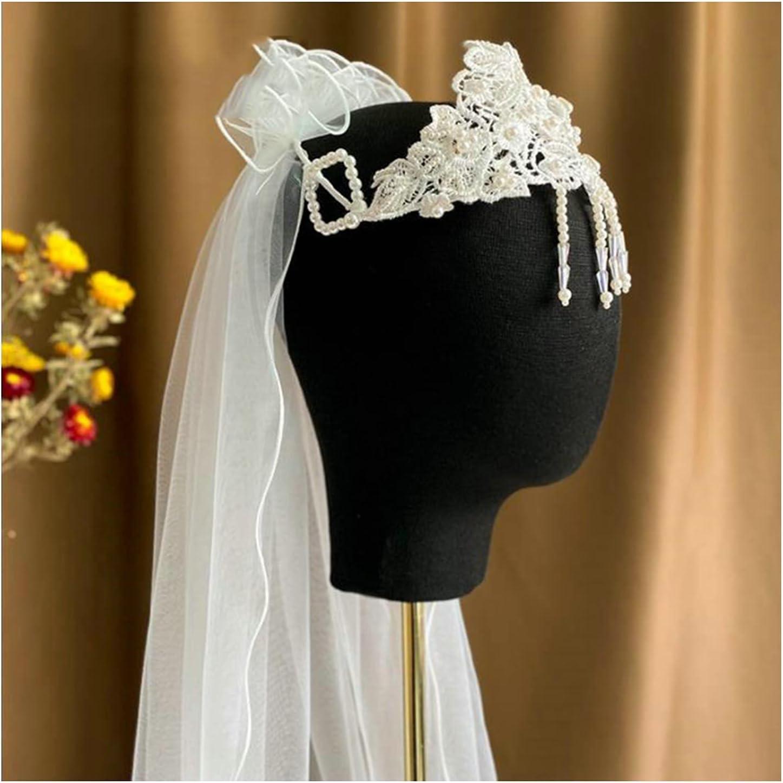 Max 81% Sales for sale OFF HEMOTONE Vintage Bridal Veil Handmade Tassel Pearl Beaded Suitab