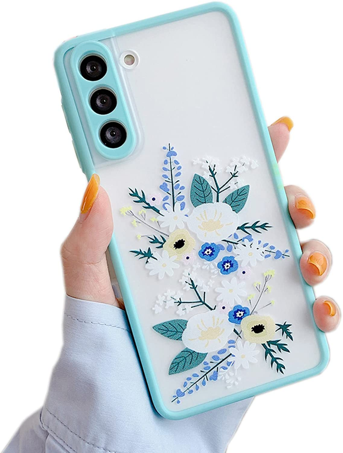 SUYACS Samsung Galaxy S21 Case Cute Frosted Matte Clear Floral Cover for Women Girls Camera Lens Protect Soft TPU Silicone Shockproof Protective Cases for Samsung S21 5G 6.2 Inch (Blue)