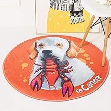 Children's Carpet Crystal Velvet Composite Fabric Round Puppies Rugs Sofa Computer Chair Cushion Plastic Slip Bottom,3,100...