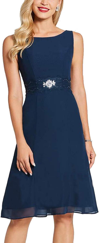 Newdeve Summer Women's Dresses with Rhinestones Belt Mother of The Bride Dresses Short