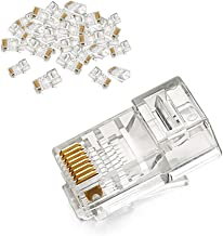 UGREEN RJ45 Connector 50 Pack Ethernet Cable Plug 8P8C Cat5E Cat5 Crimp Modular Male to Female Network LAN Connector Crystal