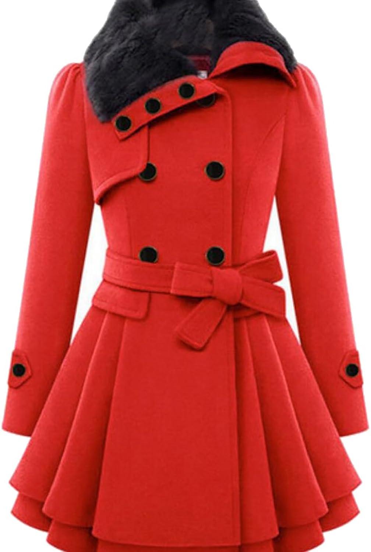 Yayu Women DoubleBreasted Slim Fit Faux Fur Collar Long Woolen Coat with Belt
