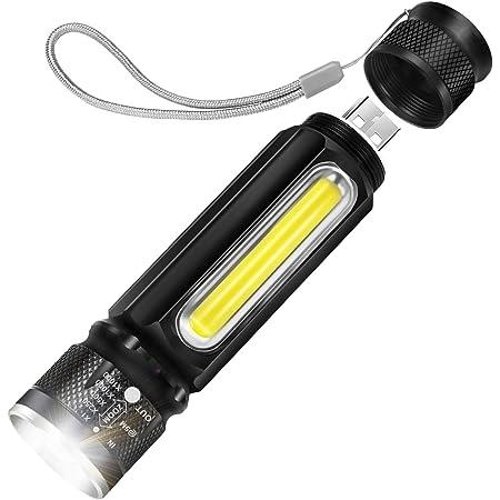 懐中電灯 LED USB充電式 高輝度 ハンディライト COB作業灯付 大容量1800mAhリチウム電池内蔵 マグネット付 合金材質 強力 耐衝撃 防災 防水 2019 性能アップ