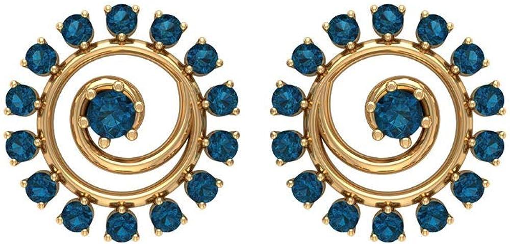 Rosec Jewels – Spiral Earrings with 0.38 CT London Blue Topaz, Gemstone Stud Earrings, December Birthstone Earrings, Topaz Jewelry (AAA Quality), Screw back