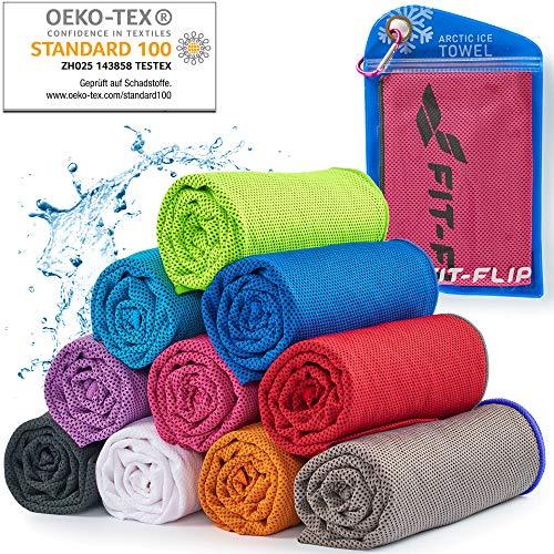 Cooling Towel für Sport & Fitness – Mikrofaser Handtuch/Kühltuch als kühlendes Handtuch für Laufen, Trekking, Reise & Yoga – Cooling Towel – Farbe: rosa-dunkel Grauer Rand, Größe: 100x30cm