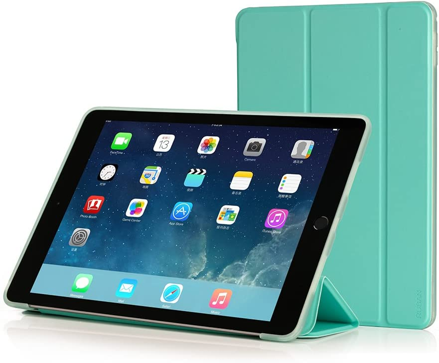 RUBAN Case Compatible with iPad Mini 4 - Slim Lightweight Protective Smart Shell Anti-Scratch Non-Slip Flexible Soft TPU Back Cover Stand [Auto Sleep/Wake], Mint Green