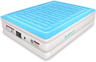 Avenco Queen Size Air Mattress with Built in Pump, Upgraded Blow up Mattress Queen with Car/Home Powered for Camping, Inflatable Bed with Quilt Top, Height 18inch, 3-Year Guarantee