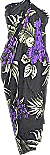 Hawaiian Black W/Purple Hibiscus Flowers Sarong Beach WRAP Swimsuit Cover UP