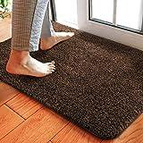 Delxo 24 x 36 Inch Magic Doormat Absorbs Mud Doormat No Odor Durable Anti-Slip Rubber Back Low-Profile Entrance Door Mat Large Cotton Shoe Scraper Pet Mat Machine Washable (Dark Brown)