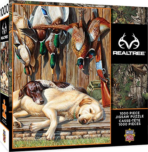MasterPieces Realtree Jigsaw Puzzle, All Tuckered Out, Featuring Loveable Hunting Dogs, 1000 Pieces