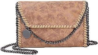 Sling Bag Women Chain Bag Fashion PU Leather Crossbody Bag Shoulder Bags Ladies Clutch Handbag KAVU Bag (Color : Apricot)