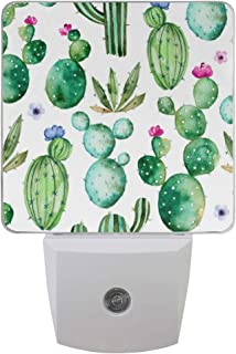 ZOEO Cactus Night Light 2 Pack Tropical Green Succulents Plants Floral Plug-in LED Night Lamp with Light Sensor Bathroom Toilet Bedroom Kitchen Wall Decorative Daylight White for Kids Childrens