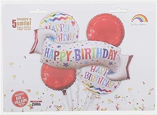 مجموعة بالونات فويل بطبعة عبارة هابي بيرث داي من ام كولور بالون - 5 قطع، متعددة الالوان