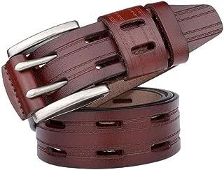 Men's Genuine Leather Belt Double Pin Buckle Business Casual Suit Pants Belt Long 130CM (Color : Brown)