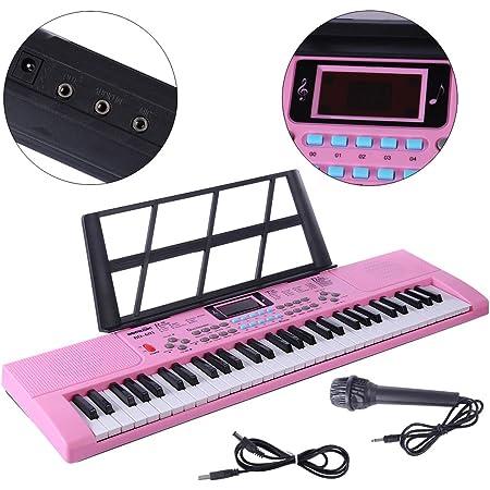 MRKE Piano Infantil con Microfono 61 Teclas Teclado Electronico Piano Organo Niños Juguete de Instrumentos Musicales Regalo para Principiantes Niño y ...