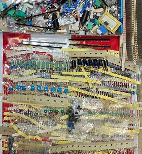 bargainz_24 Lotto Stock Kit 100 Componenti Elettronici Sfusi - Resistenze Transistor Integrati LED DIodi Condensatori Fusibili Varie Microcontrollori Ohm Watt