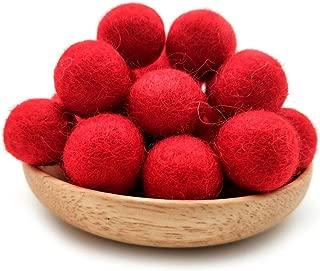 Felt Wool Beads Balls Pom Pom Handmade DIY for Craft Dream Catcher Baby Moile Pompom Home Decor Nursery Party Props (Red 20mm 30pcs)