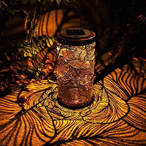 Ittba Linternas solares LED Morrocan Lámpara al Aire Libre Damasque Ornamento Mesa Patio Linternas Solares Impermeables Pathway Decorativo Balcón Luz Sol Luz Lámpara 1 PC Bronce