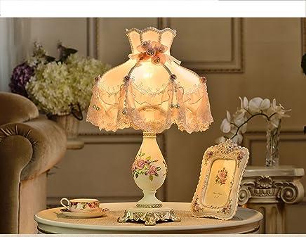 MILUCE コンチネンタルベッドサイドランプベッドサイドランププリンセスIdyllicクリエイティブウェディングエレガントな装飾的なテーブルランプ