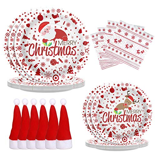 Christmas Decorations Christmas Table Decorations Christmas Paper Plates and Napkins,Santa Hat Tableware Holders,Christmas Party Decoration Supplies Merry Christmas Disposable Dinnerware Set