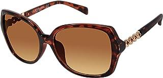 يو.اس. بولو اسن . نظارة شمسية نسائية مستطيلة عريضة PA5015 مع معبد هندسي معدني لامع وحماية من الأشعة فوق البنفسجية 100%، سل...