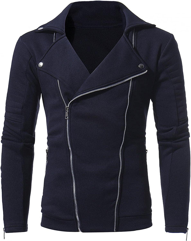 JSPOYOU Men's Motorcycle Jacket Lightweight Zipper Outdoor Coat Causal Slim Fit Biker Coat Outwear