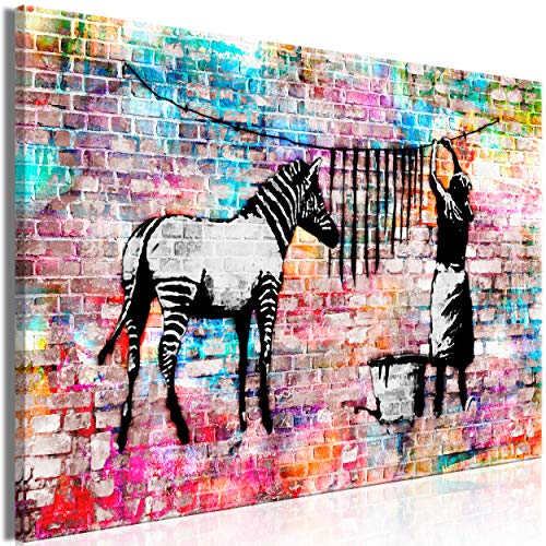 decomonkey Bilder Banksy 120x80 cm 1 Teilig Leinwandbilder Bild auf Leinwand Vlies Wandbild Kunstdruck Wanddeko Wand Wohnzimmer Wanddekoration Deko Street Art Graffiti Zebra