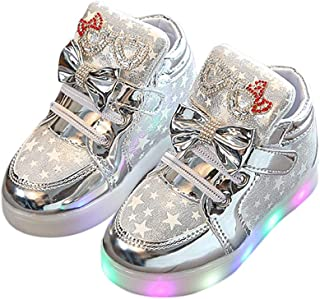 XuBa Kid Luminous Casual Sneakers Colorful Light Bowknot Star Magic Sticker Boy Girl Sports Shoes Silver 22 yards / 14cm